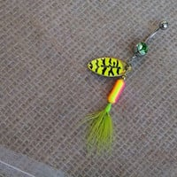 NEON Pink, Orange, and Yellow  Rooster Tail Fishing Lure Navel Belly Button Ring For the Country Fishing Girl