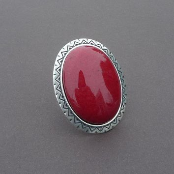 the perfect cocktail ring in red mountain jade and silver