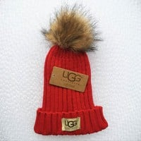 UGG Fashion Men And Women Knitted Cap Red