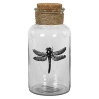 Glass Bottle with Cork Top - Dragonfly