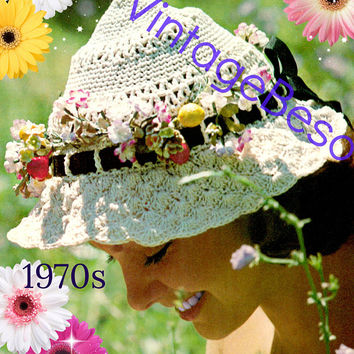 DIGITAL PATTERN • Hat Crochet Pattern • Boho Brimmed Hat • Nod to Victorian Days • 1970s Vintage • PdF Pattern • Retro Sexy Earthy Fun