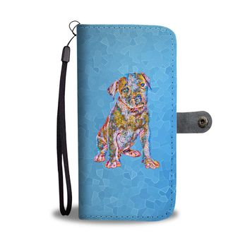 Pit Bull Puppy Wallet Phone Case, Stained Glass Design, Blue