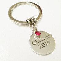 Class of 2015 gift / Birthstone graduation gift / Class of 2015 Keychain / Graduation Gift for her / High School Grad / College Grad  gift