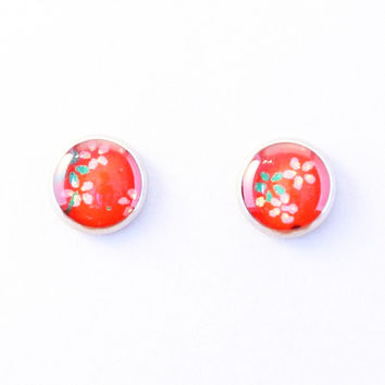 Red floral stud earrings, Japanese washi ear stud, plum blossoms, sakura, Chiyogami resin jewelry, hypoallergenic surgical steel, tiny