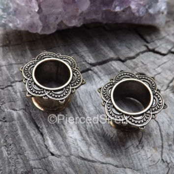 "Brass tunnel gauge earrings rose mandala design 0g 00g 1/2"" gauges plugs antique gold finish ornate tribal plugs body jewelry girly plugs 1"