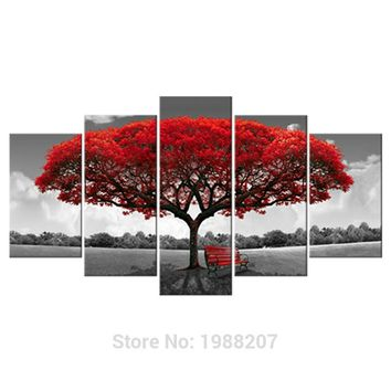 Amosi Art-5 Panels Red Tree Canvas Painting Flowers Wall Art Landscape Artwork Print on Canvas For Home Wall Decor Wooden Framed
