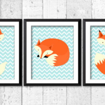 Woodland nursery decor, foxes art prints for baby, little fox wall decor, retro nursery art, teal chevrons prints, baby art, home decor