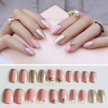 24pcs/box professional Pink cute ocean Photo studio False Nails Golden flash Fake Nail Personality art photo Full Cover Nail
