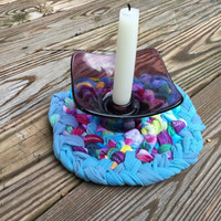 Boho Home Accent, Repurposed Tie Dye Hot Mat, Rag Rug Style Braided Trivet or Dining Centerpiece, Alternative Home, Hippie Housewarming Gift