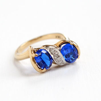 Vintage 14k Yellow Gold Created Blue Spinel & Genuine Diamond Ring - Size 5 1/4 Simulated Sapphire Bow Motif Fine Jewelry Hallmarked KSK