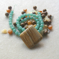 Wood Jasper, Aventurine Beads, Aragonite Beads, DIY Jewelry Kit, Gemstone Beads, Gemstone Pendant, Craft Supplies, Jewelry Making Beads