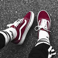 """""""Vans"""" Old School Casual Shoes Men and women classic black cloth shoes Wine red"""