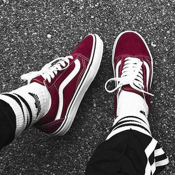 """Vans"" Old School Casual Shoes Men and women classic black cloth shoes Wine red"
