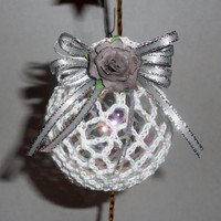 Victorian Christmas Ornament, Crochet, White and Silver