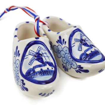 Embossed Dutch Windmill Delft Blue Shoe Pair