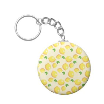 Lemon Pattern Basic Button Keychain