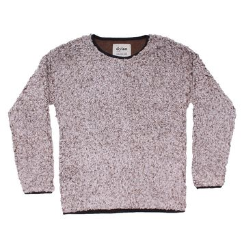 Solid Frosty Tipped Drop Shoulder Crew Sweater in Brown by True Grit (Dylan)