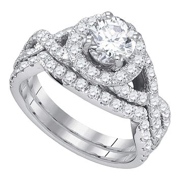 14kt White Gold Women's Round Diamond Halo Bridal Wedding Engagement Ring Band Set 2-1/5 Cttw - FREE Shipping (US/CAN)