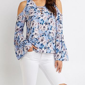 Floral Lace-Up Cold Shoulder Sweater | Charlotte Russe