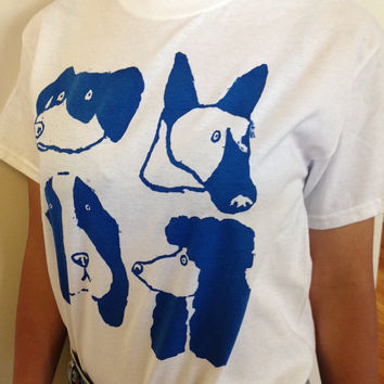 "Hand screenprinted T-shirt ""Dog Days"""