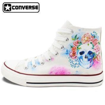 ICIKGQ8 hand painted converse shoes for women men custom design skull colorful flowers white s