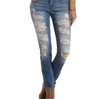 Med Wash Denim Low Rise Destroyed Skinny Jeans by Charlotte Russe