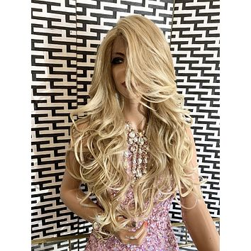 "KRISTA lace front wig 22"" long blond balayage hair"