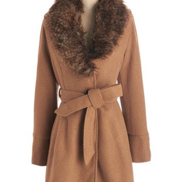 Steve Madden Vintage Inspired Long Long Sleeve Straight Plush Coat in Camel