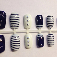 Nautical Anchor Navy White Silver Caviar Detail Press On False Nails Fake Nails
