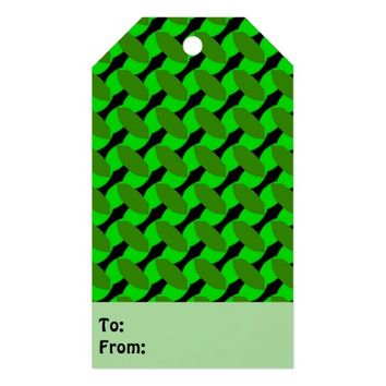 Green Leaf Geometric Design Gift Tags