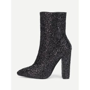 DCCKM83 Sequin Overlay Pointed Toe Ankle Boots
