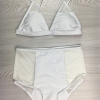 White High Waist Bikini Set Swimsuit +Free Gift -Random Necklace-62