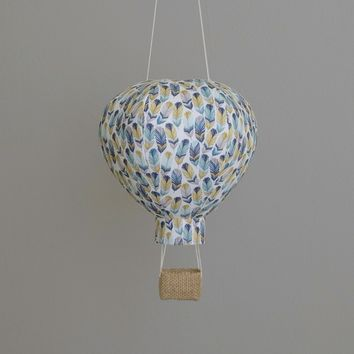Hot Air Balloon Decoration in Blue Feathers