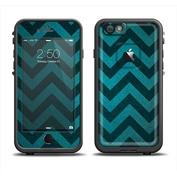 The Teal Grunge Chevron Pattern Apple iPhone 6 LifeProof Fre Case Skin Set