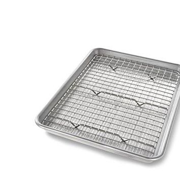 Quarter Sheet Baking Pan and Bakeable Nonstick Cooling Rack