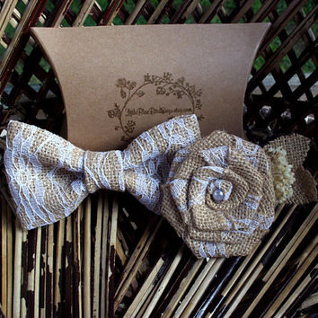 Burlap and lace bow tie | Burlap and lace boutonniere | clip on bow tie | burlap rose | rustic wedding | rustic bow tie | rustic boutonniere