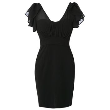 Sexy Plunging Neck Short Sleeve Spliced Bodycon Women's Dress