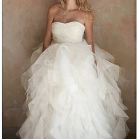 [$244.99 ] Gorgeous Tulle&Organza Satin Ball Gown Strapless Sweetheart Neckline 2 In 1 Wedding Dress - Edressbridal.com