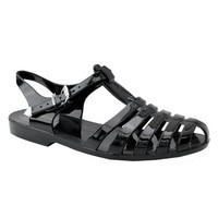 Womens Summer T-Strap Retro Jelly Rain Flat Sandals TRENDS SNJ SHOES