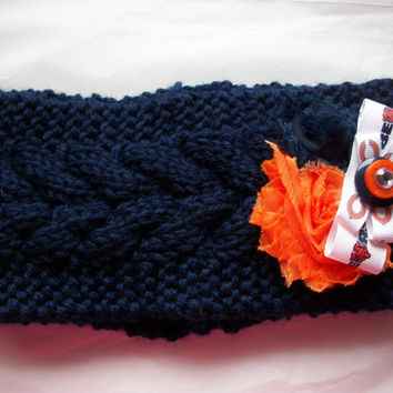 Women's Knit Crochet Chicago Bears NFL Football Navy Headband Ear Warmer Windy City