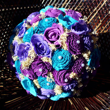 Turquoise and purple bridal bouquet, rustic bouquet, rustic wedding, keepsake bouquet,alternative bouquet, wedding bouquet, plum, violet