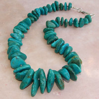 Turquoise Necklace Handmade Chunky Gemstone Nuggets Silver Beaded OOAK