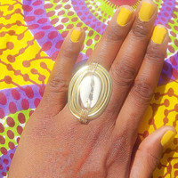 Cowrie shell ring - Statement ring- afrocentric rings - oversize ring- wire cocktail ring - African ring - bohemian ring - boho jewelry