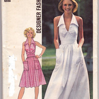 70s Halter Wide Collar Dress or Maxi Vintage Sewing Pattern Simplicity 7431 Size 14 Bust 36 UNCUT FF