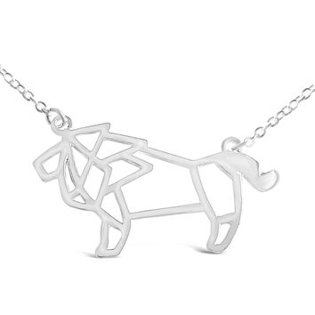 Silver Lion Necklace - African Lion Inspired Origami Necklace