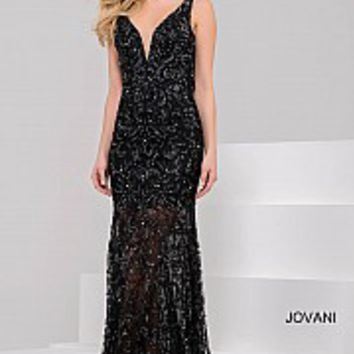 Black Embellished Fitted V Neck Backless Gown 32369