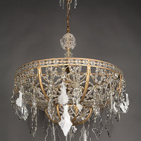 Circa 1920 A large antique beaded crystal dome chandelier