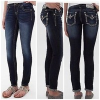 MISS ME signature ANKLE SKINNY JEB111AK2 rhinstone womens jeans 23,24,25,28