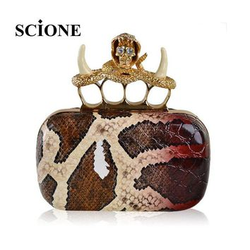 2017 designer crystal skull clutch knucklebox diamond snakeskin serpentine pattern evening bags women handbag purses bag 860t