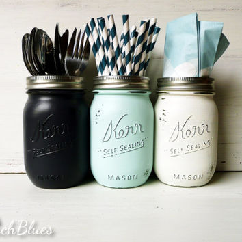 Dorm Decor - Nautical Navy, Aqua and White Utensil Holders / Painted and Distressed Shabby Chic Mason Jars / Vase